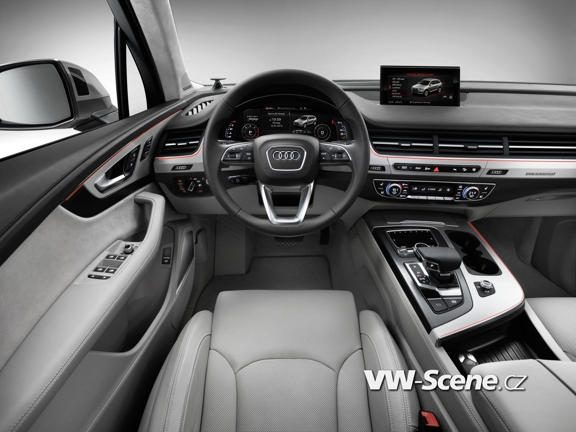 Mit seinem Angebot an Fahrerassistenzsystemen setzt der neue Audi Q7 Massstaebe, die ueber die Standards in seinem Segment hinausreichen; einige Systeme sind von Grund auf neu entwickelt. Kein anderes Serienauto der Welt bietet aktuell mehr. Ein Highlight ist das umfassende Portfolio an neuen Fahrerassistenzsystemen bis hin zur adaptive cruise control mit Stauassistent. Diese haelt den Q7 durch Beschleunigen und Verzoegern auf dem gewuenschten Abstand zum Vordermann. Wenn sie deaktiviert ist, zeigt sie die Distanz an. In der Top-Ausbaustufe, als ACC Stop & Go inklusive Stauassistent, uebernimmt das System auf gut ausgebauten Strassen auch die Lenkarbeit, solange der Verkehr zaehfluessig ist und das Tempo nicht mehr als 65 km/h betraegt. Serie sind die Einparkhilfe hinten, die Geschwindigkeitsregelanlage, der einstellbare Geschwindigkeitsbegrenzer, die Pausenempfehlung und das Sicherheitssystem Audi pre sense city. Bei Stadt-Tempo warnt es den Fahrer vor drohenden Kollisionen mit anderen Fahrzeugen und Fussgaengern, im Notfall veranlasst es eine starke Bremsung. Die Options-Loesungen sind in den Paketen ?Parken?, ?Stadt? und ?Tour? gebuendelt. Das Paket ?Parken? enthaelt die Umgebungskameras und den Parkassistent, der das Auto selbsttaetig rueckwaerts in Laengs- und Querparkluecken steuert. Der Fahrer muss nur noch bremsen und Gas geben. Das Paket ?Stadt? umfasst neue Systeme: Der Querverkehrsassistent warnt den Fahrer vor anderen Fahrzeugen, wenn er langsam rueckwaerts faehrt, etwa beim Heraussetzen aus einer Querparkluecke. Die Ausstiegswarnung weist vor dem Oeffnen der Tuer auf Fahrzeuge oder Fahrraeder hin, die sich von hinten naehern. Im Paket ?Tour? stecken weitere Innovationen von Audi.     Audi Q7  Cockpit    Verbrauchsangaben Audi Q7:Kraftstoffverbrauch kombiniert in l/100 km: 8,3 - 5,7;CO2-Emission kombiniert in g/km: 183 - 149