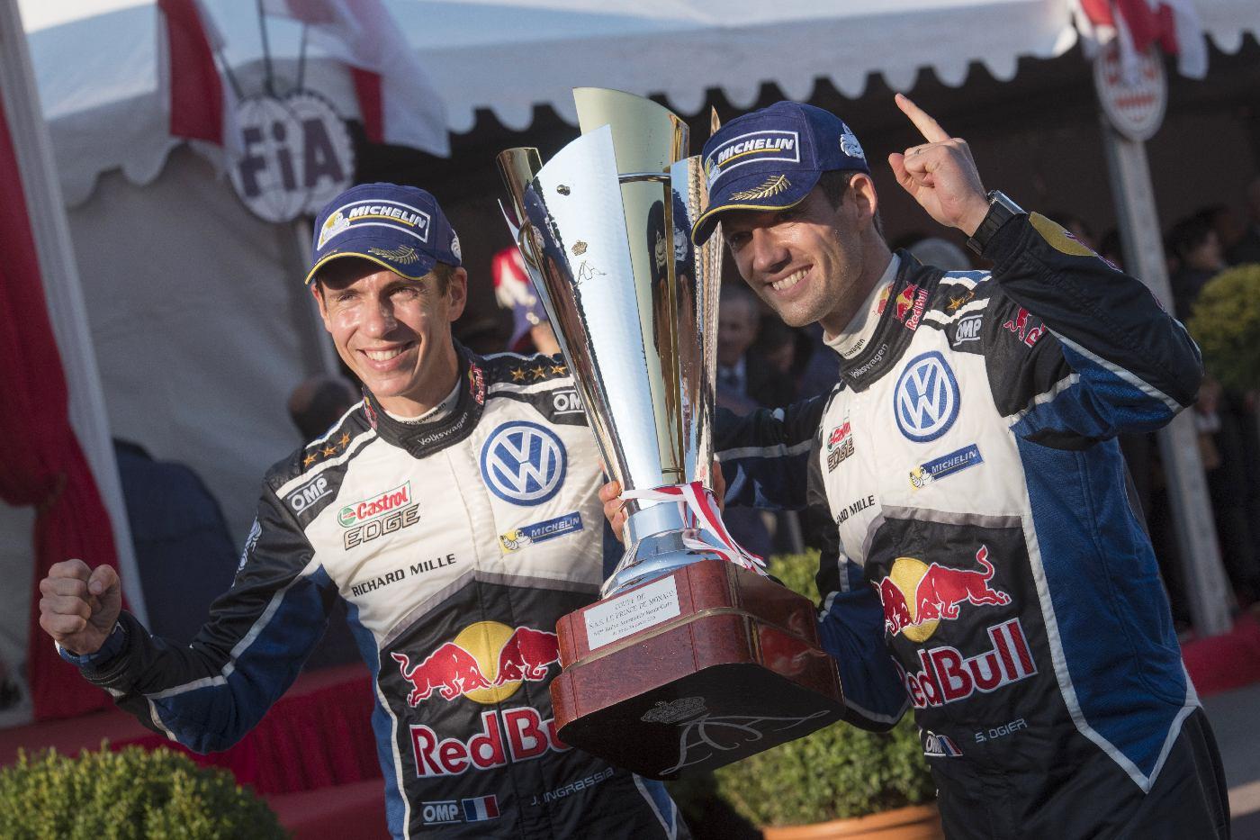 Sebastien Ogier (FRA) , Julienn Ingrassia (FRA) celebrate the podium during the FIA World Rally Championship 2016 in Monte Carlo, Monaco on January 24, 2016
