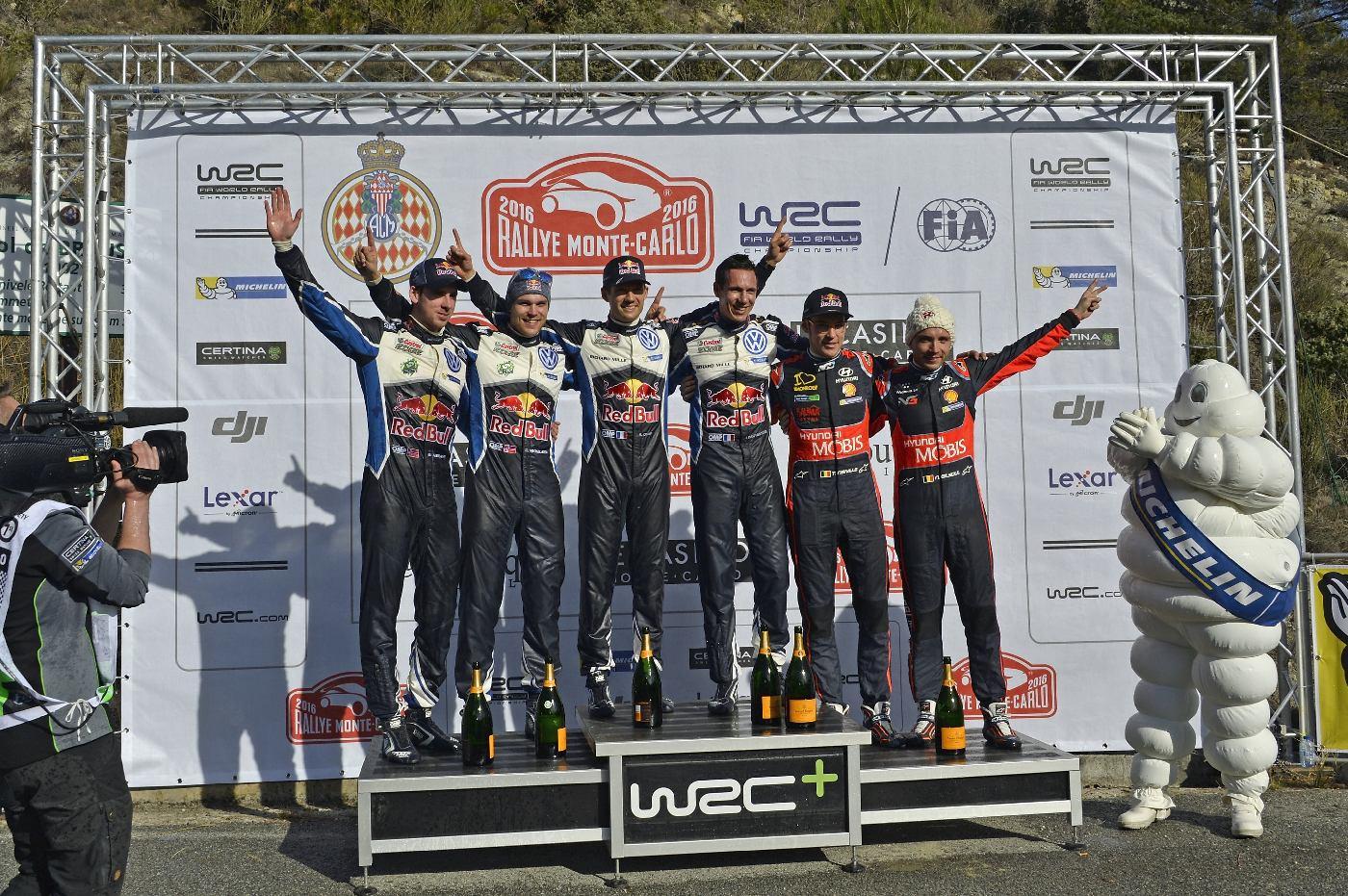 Anders Jæger (NOR), Andreas Mikkelsen (NOR), Sébastien Ogier (F), Julien Ingrassia (F), Thierry Neuville (B), Nicolas Gilsoul (B) WRC Rallye Monte Carlo 2016
